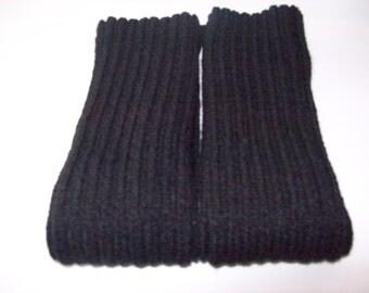 Black Knitted Leg Warmers, Dance Leg Warmers, Acrylic Leg warmers, Excercise Leg Warmers, Boot Warmers, High Heel Leg Warmers