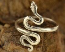 Adjustable Snake Ring, CR47, Choose Between Sterling Silver & Natural Bronze, Spiritual Ring, Serpent