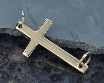 Sterling Silver Large Cross Link -  C2729, Faith, Christ, Believe, Blessed, Spiritual, Love, Sideways Charms