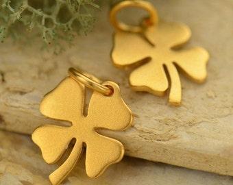 24K Gold Plated Four Leaf Lucky Clover Charm, CG979, Good Luck Charms