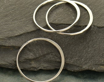 Extra Large Sterling Silver Circle Hammered Link - Findings, C2545