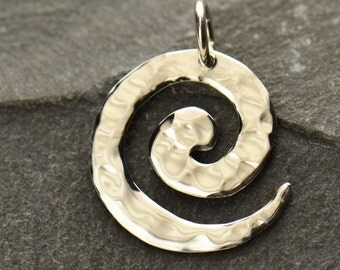 Small Sterling Silver Spiral Pendant - C2900, Hammered Finish