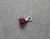 July Birthstone Ruby Pendant, Sterling Silver Wire Wrapped Gemstone Faceted Briolette Charm - Add a Dangle