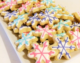 READY TO SHIP Snowflake Cookies Turquoise and Lavender (1/2 pound)