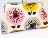 clutch purse - sunburst -   8 inch metal frame clutch purse -large purse  -flower - retro - kiss lock clutch