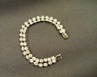 Antique  Double Row  Rhinestone Bracelet