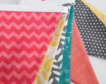 Fabric Bunting Banner in Coral, Aqua, Gray, Yellow