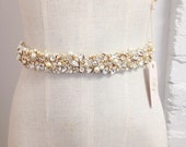 Crystal and Pearl Bridal Belt- Narrow Bridal Belt- Swarovski Crystal Bridal Sash- One-of-a-Kind Hand-Beaded -Vintage Glamour