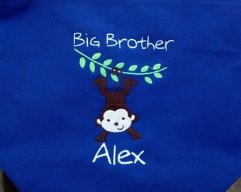Blue big brother bag- silly monkey- personalized at NO additional charge