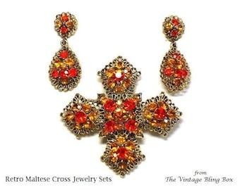 40s Rhinestone Maltese Cross Brooch and Drop Earrings Demi Parure in Fire Opal & Topaz Crystal Pave Set in Gold - Retro 40's Jewelry Sets