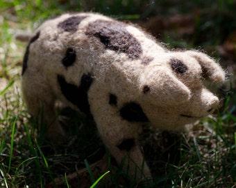 Spotted Pig - 100% needle felted alpaca wool animal sculpture
