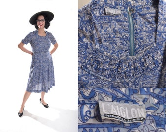 Vintage 1950s L'Aiglon Dress - Blue Rhinestone Trim - Summer Fashions