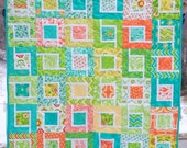 Modern Baby Quilt, Handmade Quilt, Baby Quilt, Crib Quilt, Flowers, Chevrons, Baby Girl Quilt, Wall Hanging, Rabbits, Birds