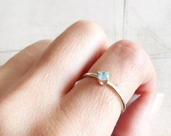 Sterling silver solitaire ring, silver hammered ring, silver stacking ring, prong setting ring, blue silver solitaire ring  gift for her