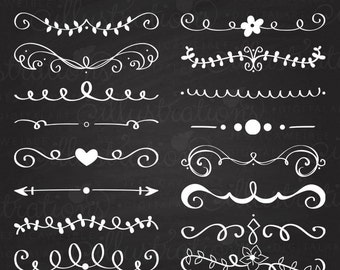 Hand Drawn Text Dividers - Vintage Divider, Commercial Use OK - Swirl, Swoosh, Design Element, Divider Clipart
