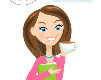 Cute Girl wtih Book & Latte Character Illustration - Pink Shirt - Brunette, Woman Character, Woman with Latte Illustration, Blog Character