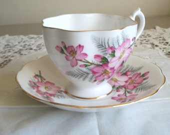 Queen Anne Pink Wild Rose Fine Bone China Cup and Saucer with Scalloped Edges Made in England