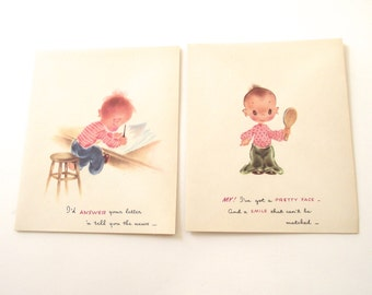 "Cute Vintage Cards, Four ""Droopy"" Friendship, Thinking of You Cards with Envelopes"