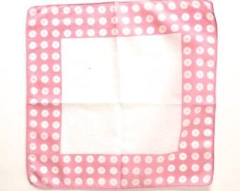 Pink Polka Dot Handkerchief, Vintage Print Ladies Hankie