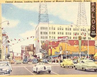Vintage Phoenix, Arizona Street Scene Postcard, Central Avenue Looking South at Corner of Monroe Street