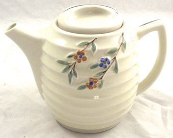 Porcelier China Teapot, Vintage Ivory Colroed Beehive Shaped Tea Pot with Flower Accent (M5)