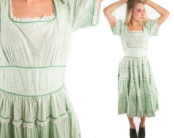 WILLA 70s Sweet Mint Green Gingham Striped Lace Square Neck Carnival Country Western Ruffled Tiered High Waist Square Dance Full Circle M