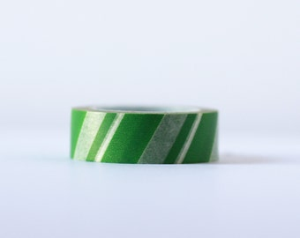 Green Candy Cane Washi Tape-  Single Roll 15 mm x 10 m