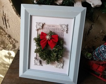 Christmas framed wall art Shabby Chic Jingle Bells Sheet Music Cottage Chic aqua frame red aqua mini wreath decor Cottage Chic wood frame