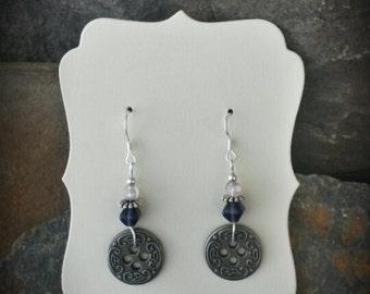 Purple Silver Button Sterling Silver Earrings, Small Button Purple Earrings, Silver Button Purple Sterling Earrings