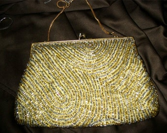 Vintage gold & silver Beaded Evening Bag Purse