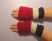 Fingerless Gloves - Red and Grey Hand Knit Fingerless Gloves