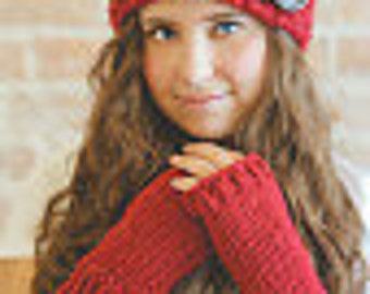 Red or Pick Your Color Hand Knit Fingerless Gloves - Red Hand Knit Fingerless Gloves