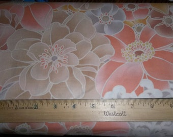 Large Flowers Peach Cotton Fabric - Elizabeth Anne P&B Textiles