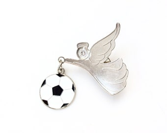 vintage angel with soccer ball pin silver color soccer player angel lapel pin