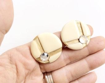 CLEARANCE rhinestones clips earrings beige/cream enamel  jewelry gold tone elegant round clips clip on earrings