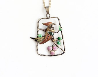 Antique Chinese Export necklace pendant Sterling silver filigree and enamel colorful bird pendant