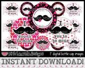 """Mustache Valentine - INSTANT DOWNLOAD 1"""" Bottle Cap Images 4x6 - 592"""