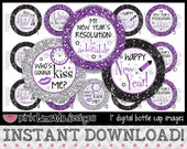 "Purple Glitter New Year - INSTANT DOWNLOAD 1"" Bottle Cap Images 4x6 - 567"