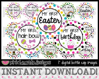 "My First Year - First Holidays/Birthday - INSTANT DOWNLOAD 1"" Bottle Cap Images 4x6 - 590"