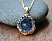 Raw Amethyst February Birthstone Necklace - Gold