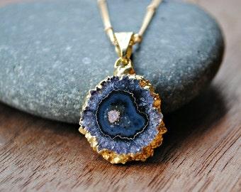 Raw Gemstone Necklace, Amethyst Slice, February birthstone