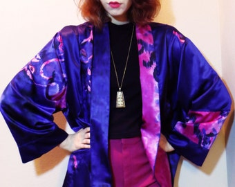 vintage watercolor silk kimono patchwork ikat jacket o/s 90's