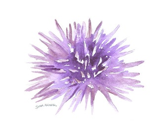 Sea Urchin Watercolor Painting - 10 x 8 - Purple Sea Life Watercolor - Wall Art 11 x 8.5
