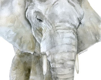 Elephant Watercolor Painting Print - 8 x 10 (8.5 x 11) - Giclee Reproduction Fine Art Print - African Animal
