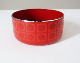 1970's enamel Op art  patterned bowl
