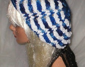 Crochet Women's Varigated Blues White Chenille Slouchy Hat Beret Slouch Hat
