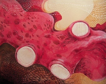 painting, print, abstract, octopus