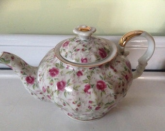 Lefton China Rose Chintz Hand-painted Teapot
