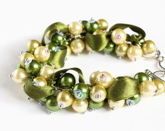 Olive Green and Yellow Cluster Bracelet and Earrings Set