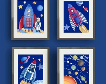children space art - boys space nursery - childrens wall art prints - outer space nursery - kids wall art decor - spaceship art